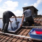 Solar power system being installed