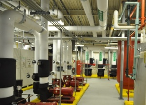Long view of the geothermal room in Monroe County Community College's Audrey M. Warrick Student Services/Administration Building.