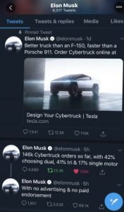 Orders for Tesla Cybertruck as Elon Musk tweets