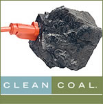 "Clean coal isn't clean, cleancoal, In the ACCCE's $35 million advertising campaign, America ""plugs"" in to a chunk of coal. Source: ACCCE"