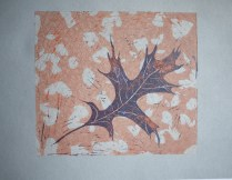 Three plate linocut with monoprint element