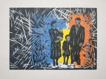 Woodcut with monoprinted background