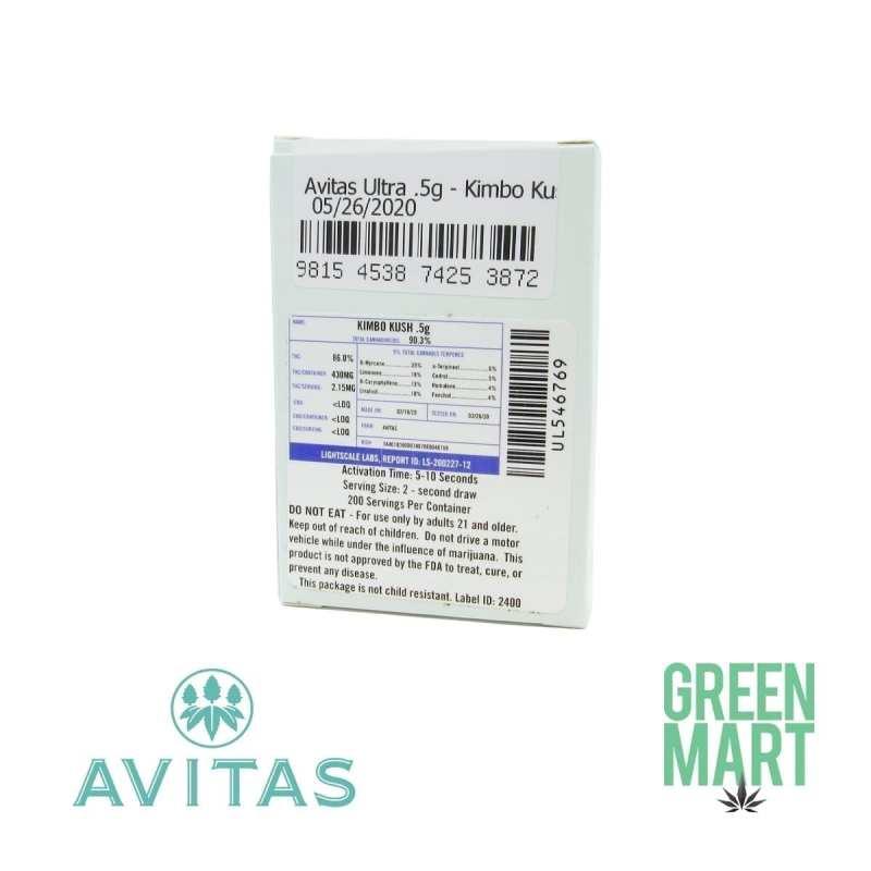 Avitas Ultra Kimbo Kush Half Gram Cartridge Back