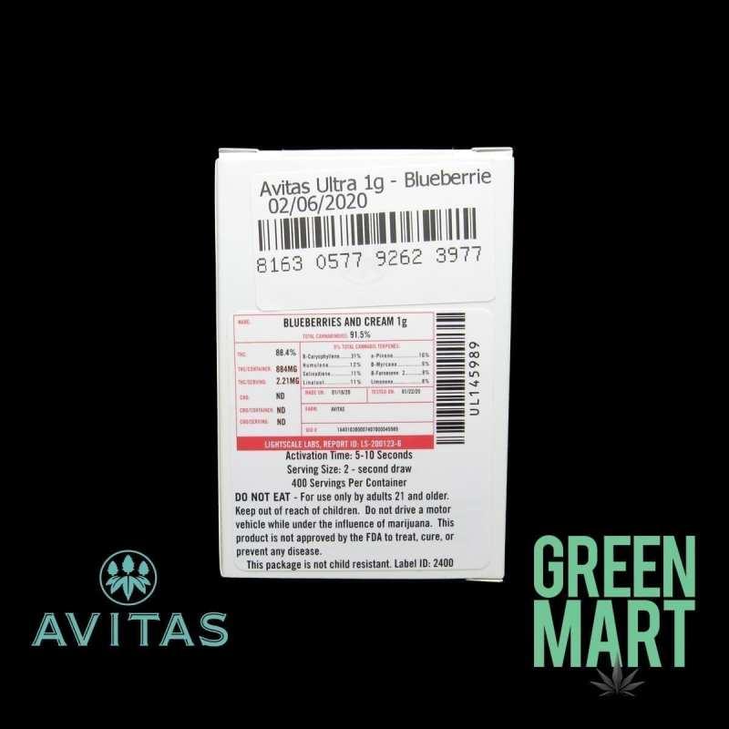 Avitas Distillate Cartridges - Blueberries and Cream Full G Back
