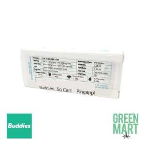 Buddies Brand Distillate Cartridges - Pineapple Mac Half Back