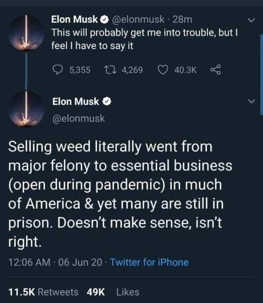 Elon Musk tweets obscure tweet before defending marijuana dealing