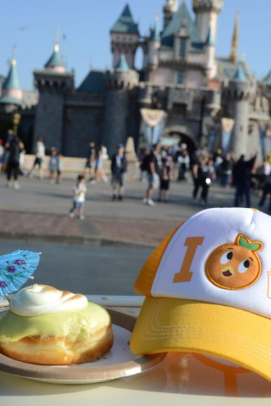 Dole Whip Donut from the Cappuccino Cart in front of Sleeping Beauty Castle | Where to Find Good Coffee at Disneyland