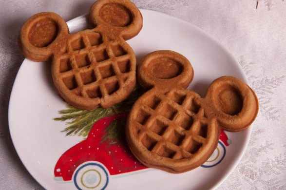 Two Mickey Waffles on a Christmas plate