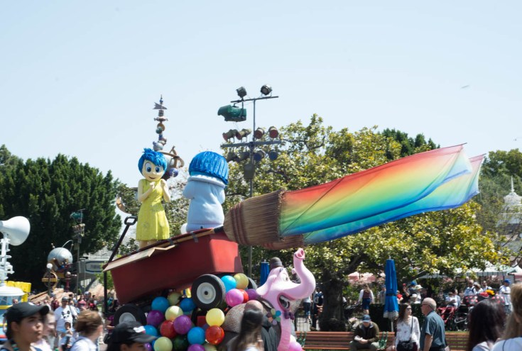 Joy and Sadness Inside Out Float at Pixar Fest Disneyland