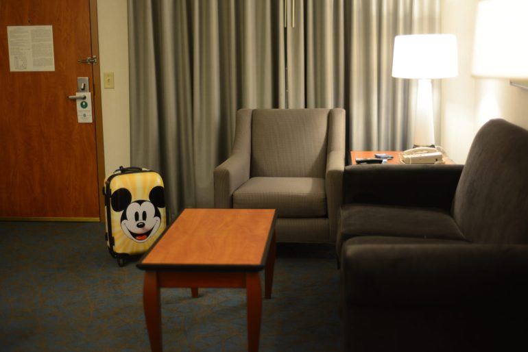 Embassy Suites Anaheim Hotel South Hotel Suite Room with a Mickey Suitcase
