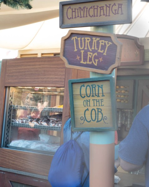 Disneyland Corn on the Cob, Turkey Leg, and Chimichanga Sign - Disney Snacks