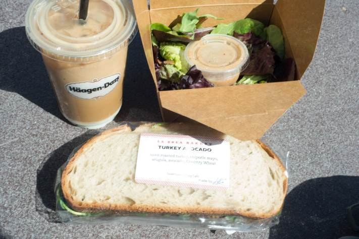 Sandwich, Salad, and Iced Coffee from La Brea Bakery in Downtown Disney at Disneyland
