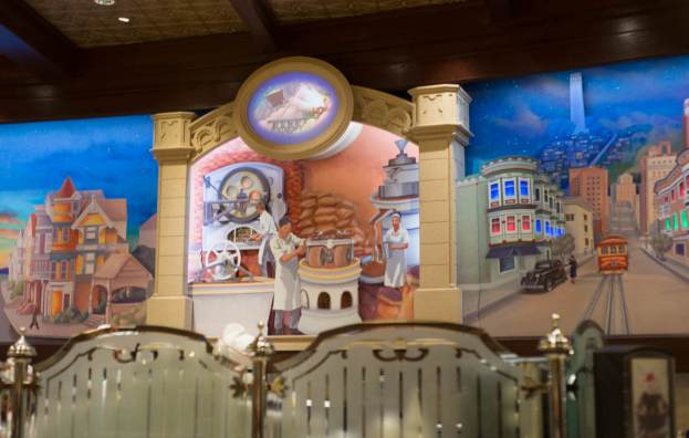 Ghiradelli's Chocolate Shop Factory Mural | Where to Find Good Coffee at Disneyland