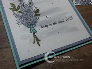 Close up of my easy card using the Lot of Lavender stamp set with a watercolored background.