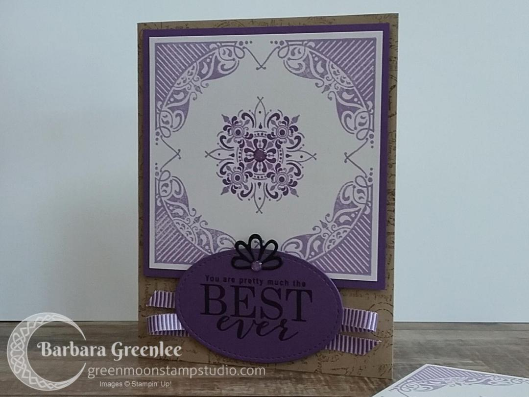 All Adorned stamp set with Post Script background.