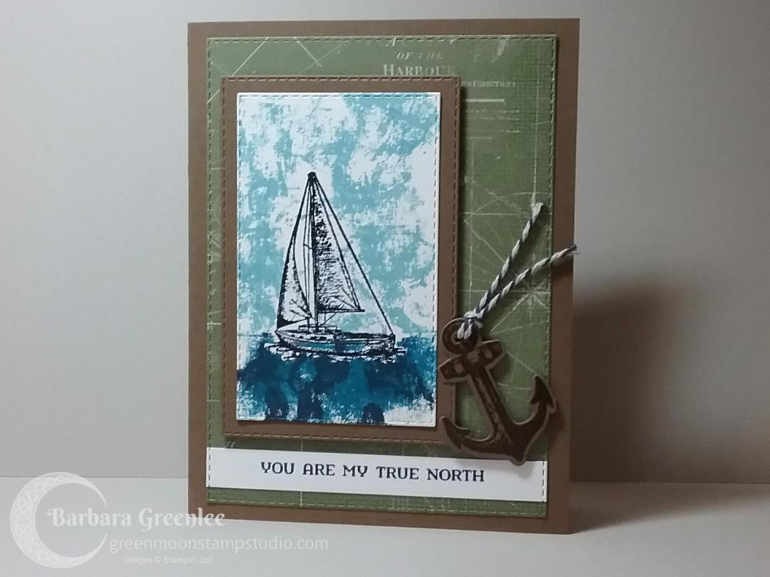 Sailing Home stamp set using the painter's tape technique.