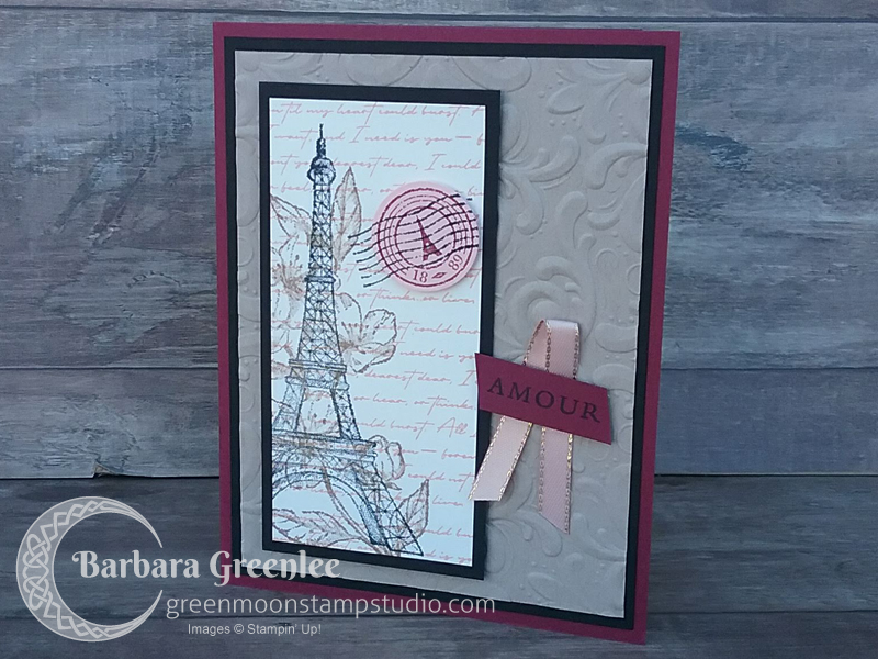 I designed this vintage card that uses the Parisian Beauty and Forever Blossoms stamp sets as a make'n'take for my vendor show this weekend.