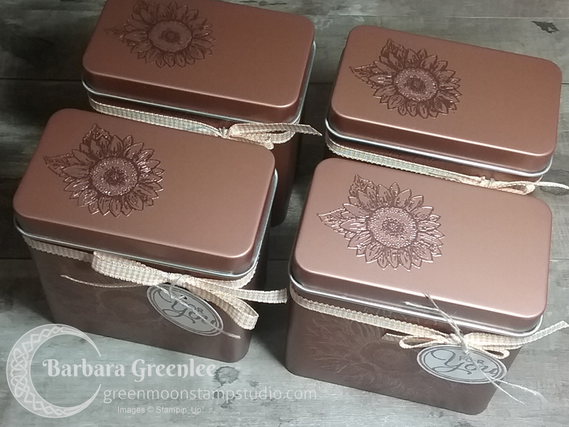 Tea Tins for my team copper embossed with Celebrate Sunflowers.