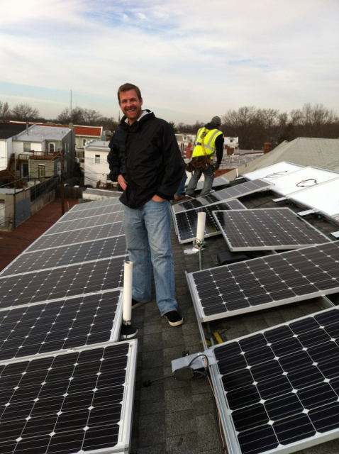 Andrew with his solar panels
