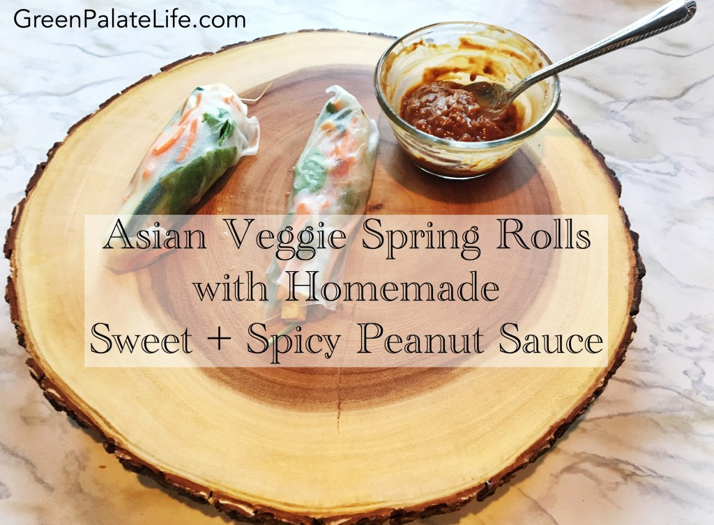 Asain Veggie Spring Rolls with Homemade Sweet & Spicy Peanut Sauce || these little bites are super healthy + the perfect crowd pleaser for any get toghether!