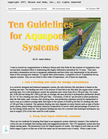 10 Guidelines for Aquaponic Systems by Dr. Jim Rakocy