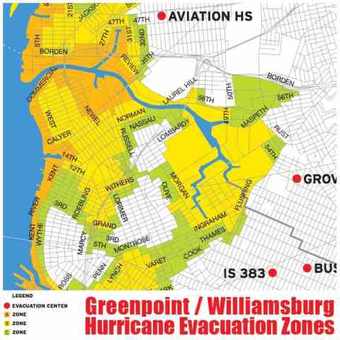 williamsburg greenpoint hurricane evacuation zone