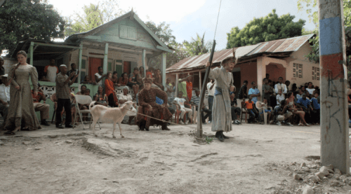 Staging 'Halka' for the residents of Cazale, located in the mountains of Haiti c/o labiennale.art.pl