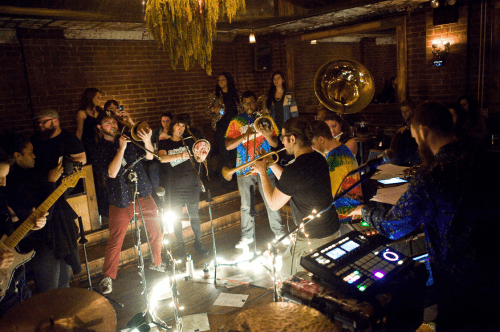 © Bruce Kung. PitchBlak Brass Band's Playlist featuring Bond St. District at Manhattan Inn in January.