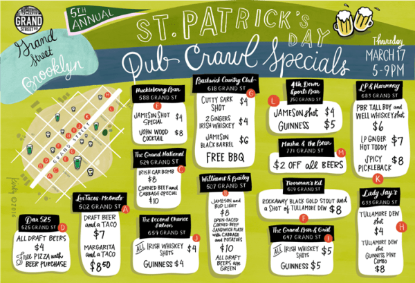 Poster from Grand Street BID detailing their St. Patrick's Day 2016 Pub Crawl