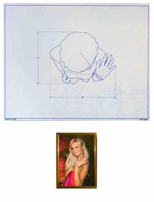 "Paris Hilton, blueprint drawing, 20"" x 16"", 2007"