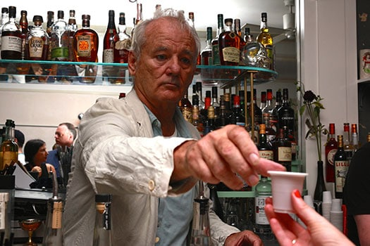 Bill Murray bartending at 21 Greenpoint (Photo: Julia Moak)