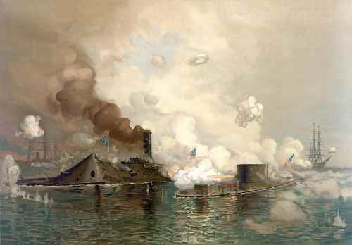 """USS Monitor engaging CSS Virginia, 9 March 1862. Louis Prang & Co.; lithograph signed """"Jo Davidson"""" via Library of Congress"""