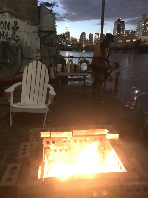 The fire pit at the North Brooklyn Boat Club, overlooking Newtown Creek. Photo via NBBC
