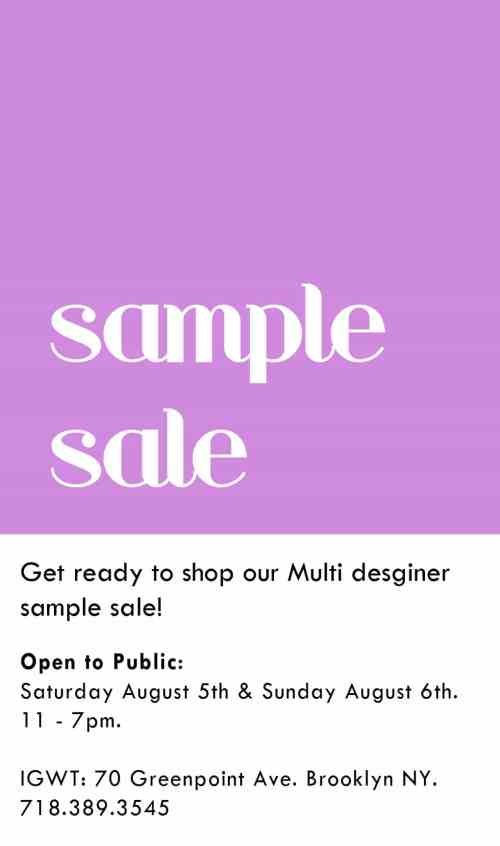 IGWT Sample Sale August 2017