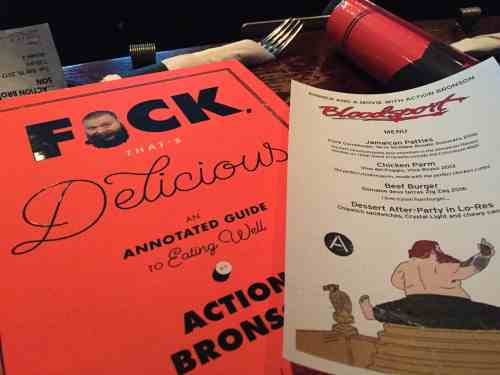 Action Bronson's book and menu at Nitehawk