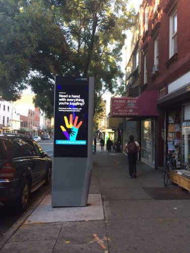 Link Kiosk on Manhattan Avenue between Huron and India Streets. Photo by Lucie Levine
