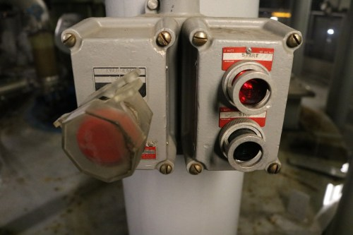 Buttons inside the Newtown Creek Wastewater Treatment Plant. Photo: Megan Penmann