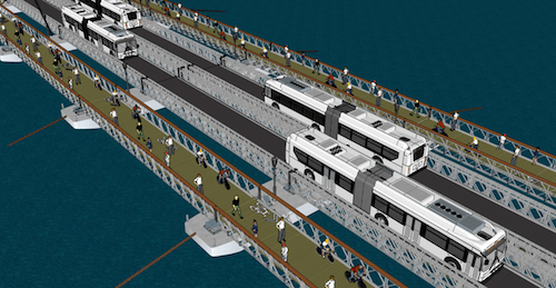 A rendering of the proposed L-ternative Pontoon Bridge,, via Kickstarter
