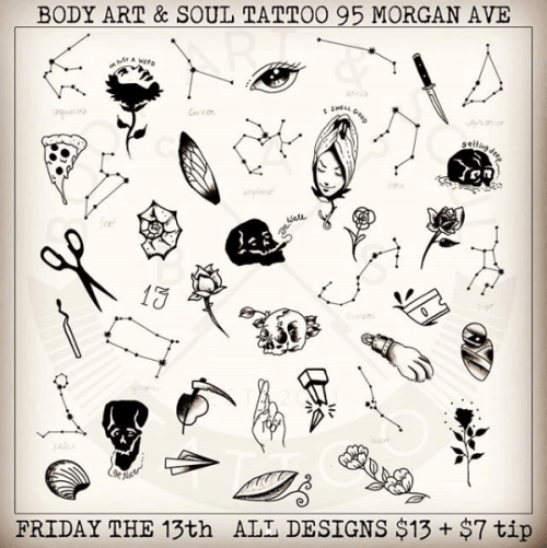 Flash designs at Body Art & Soul Tattoo in Bushwick, for Friday the 13th, April 2018