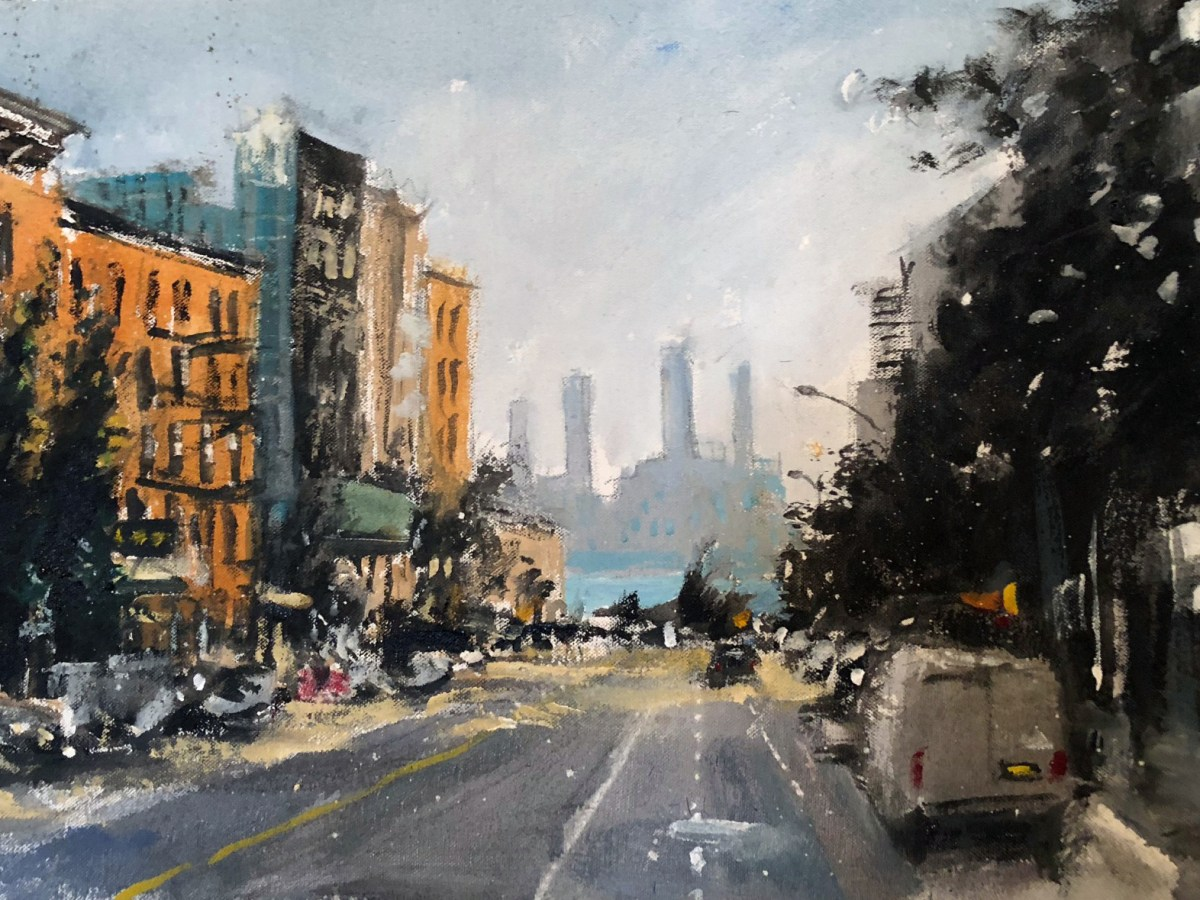Steve Wasterval's painting of Greenpoint Avenue