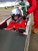 James driving off from pit lane Merryfield greenpower heat