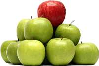 Green Apple Pile With Red Apple on Top