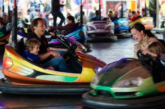 Family Enjoying Bumper Cars