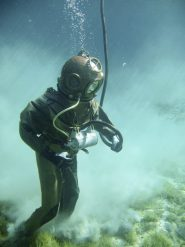 Metal Helmet Diver at Seafloor