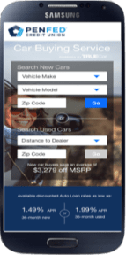 Mobile Car Buying Website Example - PenFed TrueCar