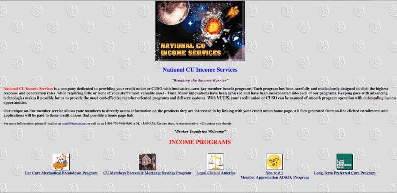 National CU Income Services Website - 1996