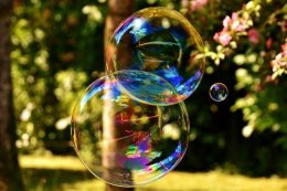 Soap Bubbles Floating