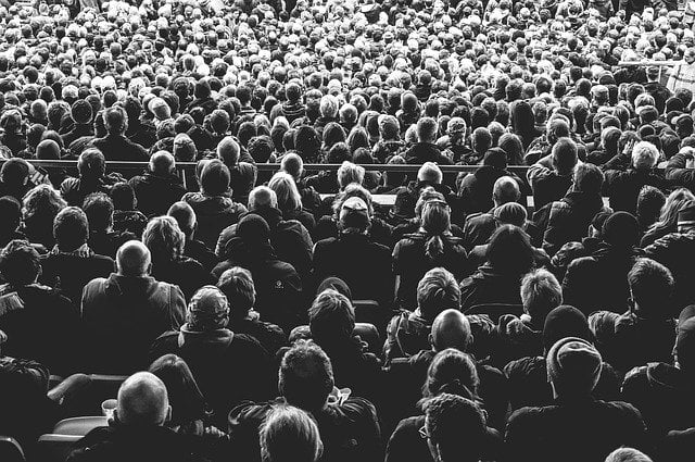 Black and White Crowd of People