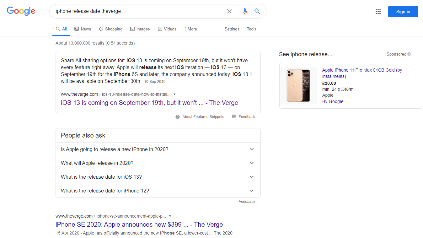 Google Highlighting SERP - The Verge