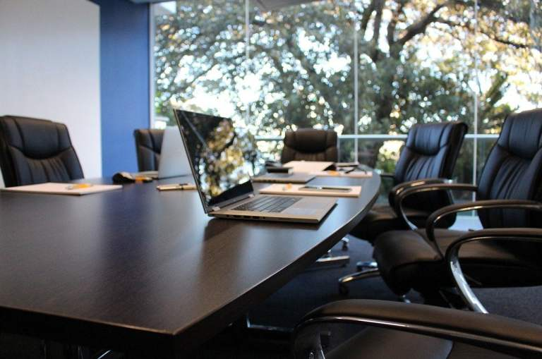 Office Boardroom with Laptop